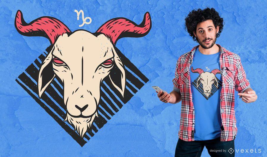Diseño de la camiseta del zodiaco Capricornio
