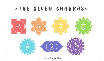 Der Sieben Chakren-Symbolsatz