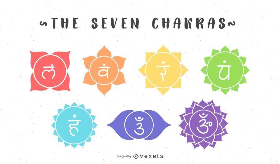 O Conjunto De Símbolos De Sete Chakras