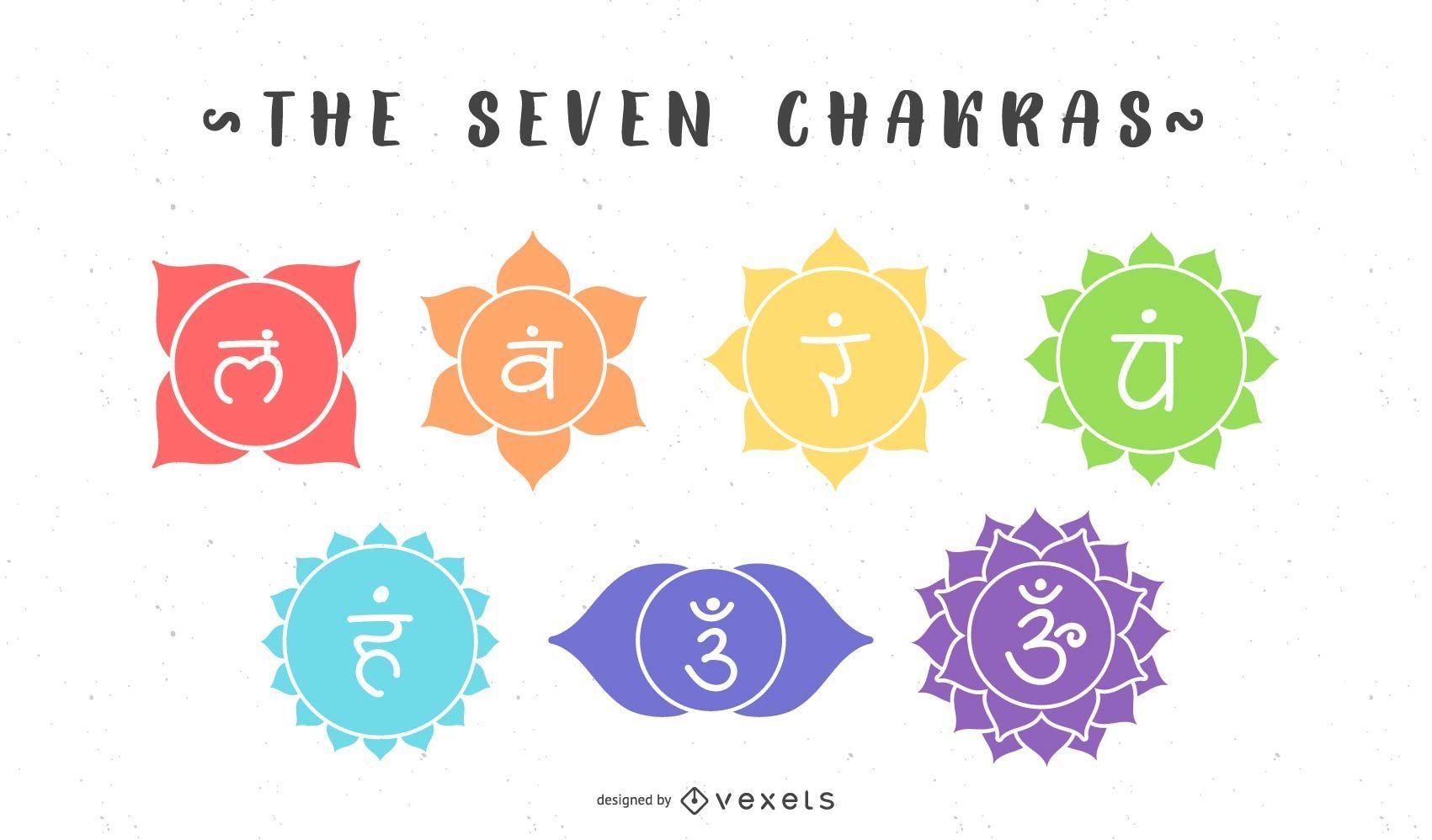 O conjunto de símbolos dos sete chakras