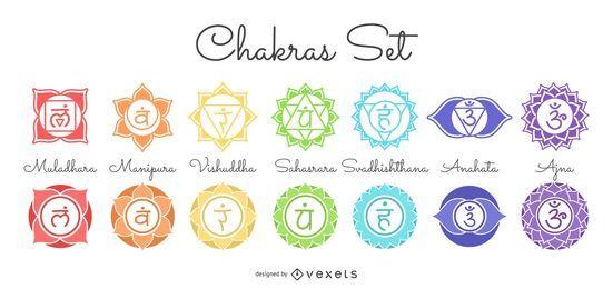Conjunto de símbolos de chakras