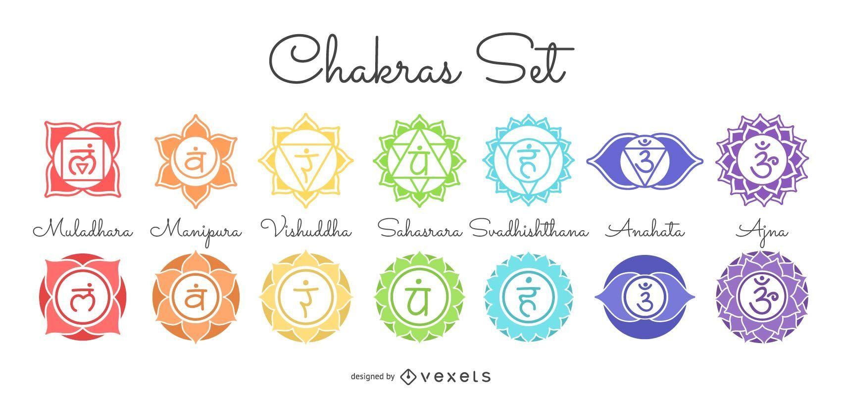 Conjunto de Símbolos Chakras