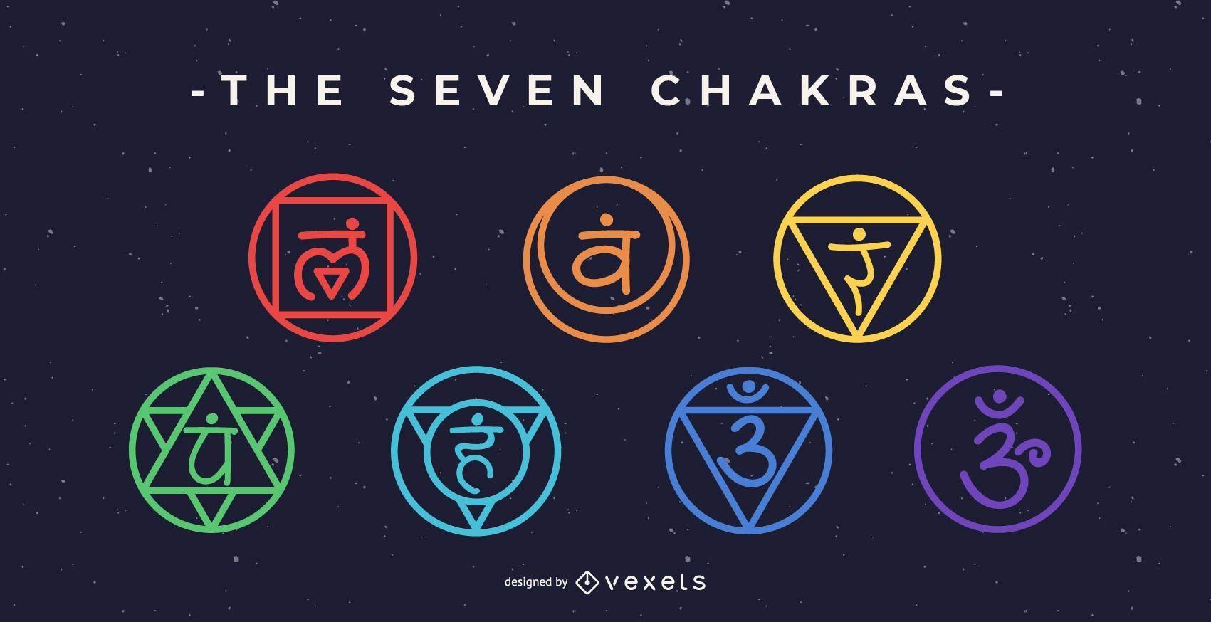 Conjunto de neón de los siete chakras