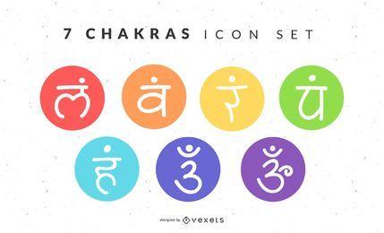Conjunto de ícones de 7 chakras
