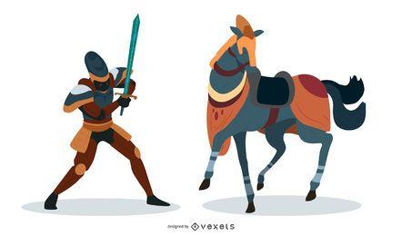 Vetor de cavaleiro de caráter de fantasia