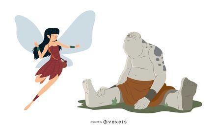 Conjunto de caracteres de fada e ogro