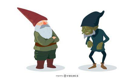 Conjunto de vectores enano y elfo