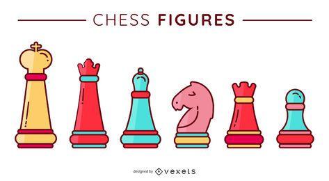 Figuras de ajedrez conjunto de vectores plana