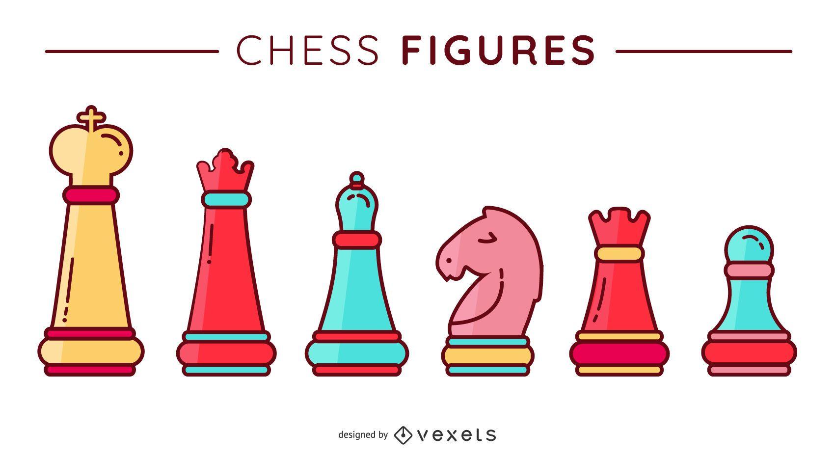 Chess Figures Flat Vector Set