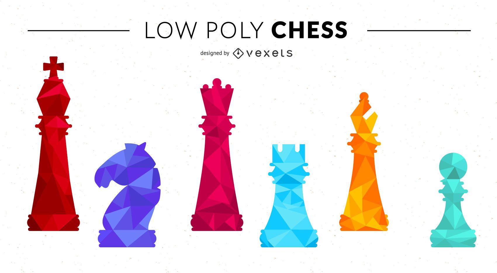 Juego de figuras de ajedrez Low Poly
