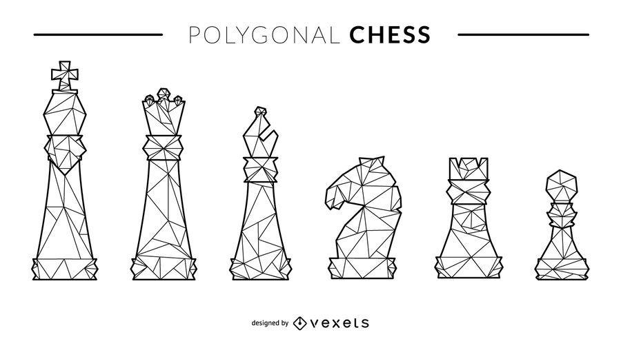 Conjunto de figuras de xadrez de estilo de linha poligonal