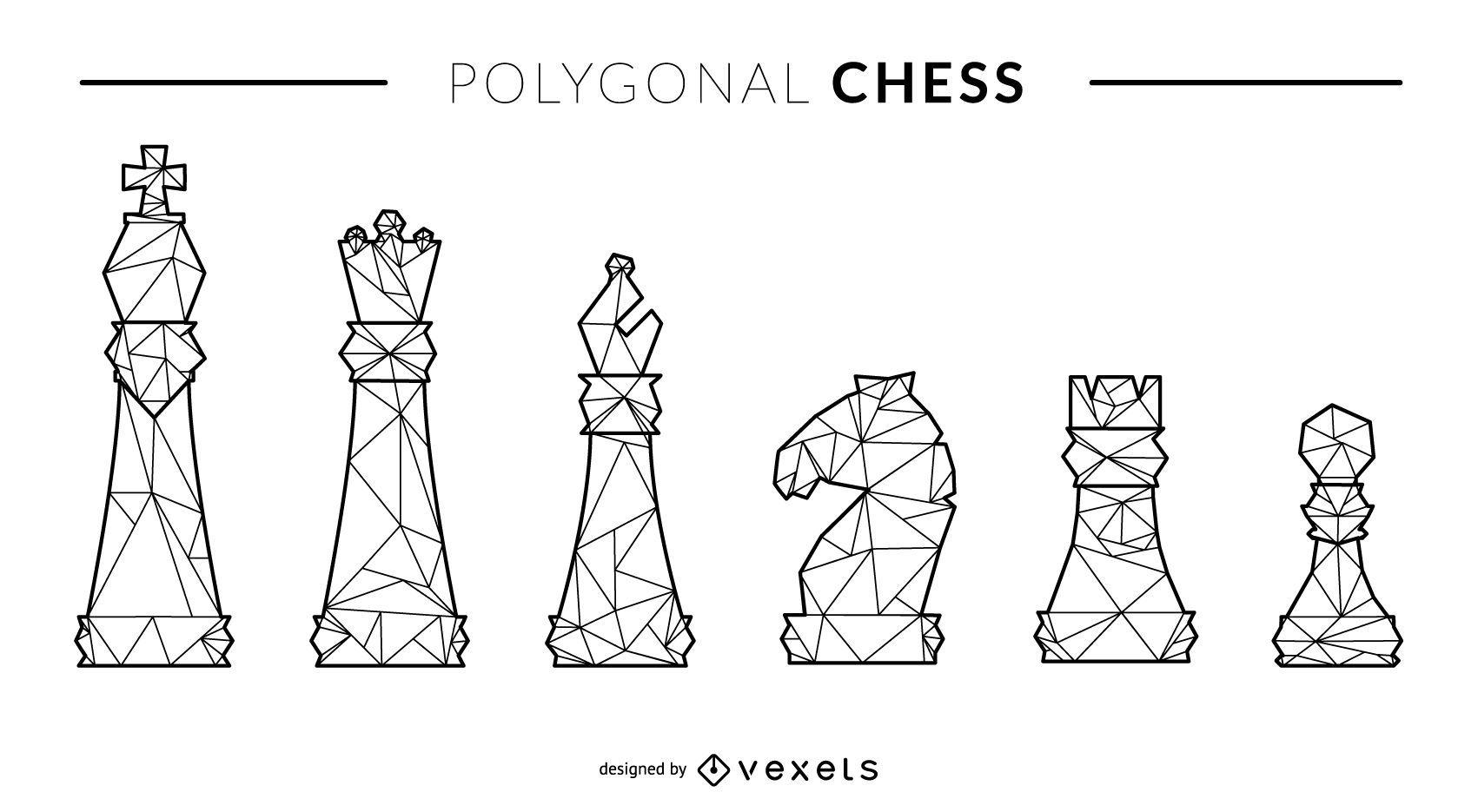 Juego de figuras de ajedrez de estilo de línea poligonal