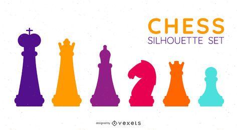 Conjunto de silhuetas de figuras de xadrez