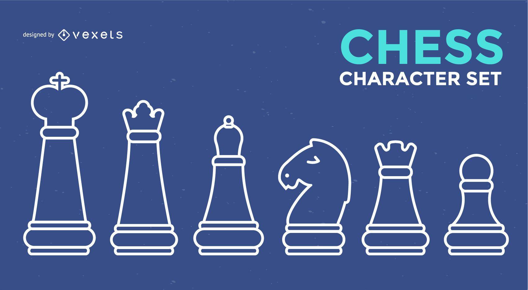 Juego de trazos de personajes de ajedrez