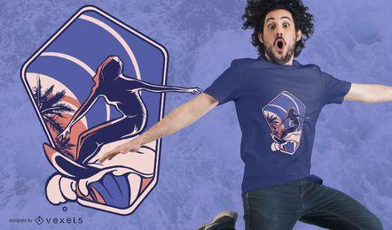 Design de t-shirt de silhueta de surf