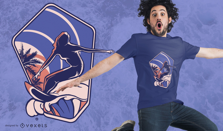 Diseño de camiseta de silueta de surf