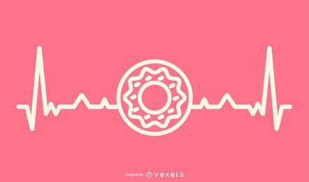 Donut com ilustração de linha de batimento cardíaco