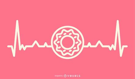 Donut With Heartbeat Line Illustration