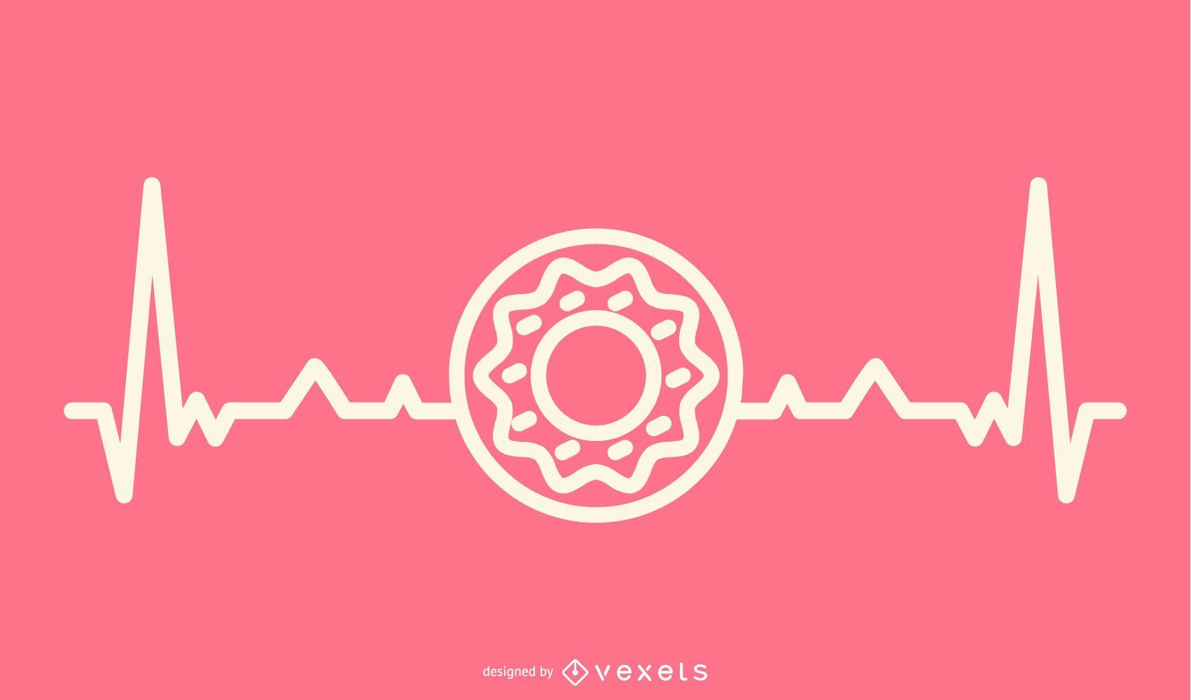Donut con ilustración de línea de latido del corazón