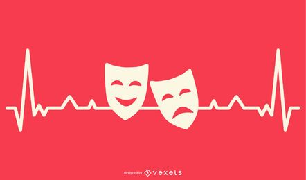 Hearbeat Line with Drama Masks Design