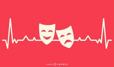 Herzschlaglinie mit Drama Masks Design