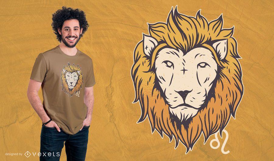 Projeto do t-shirt do sinal do zodíaco de Leo