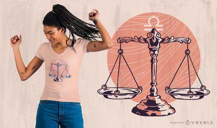 Design de camiseta com o signo do zodíaco Libra