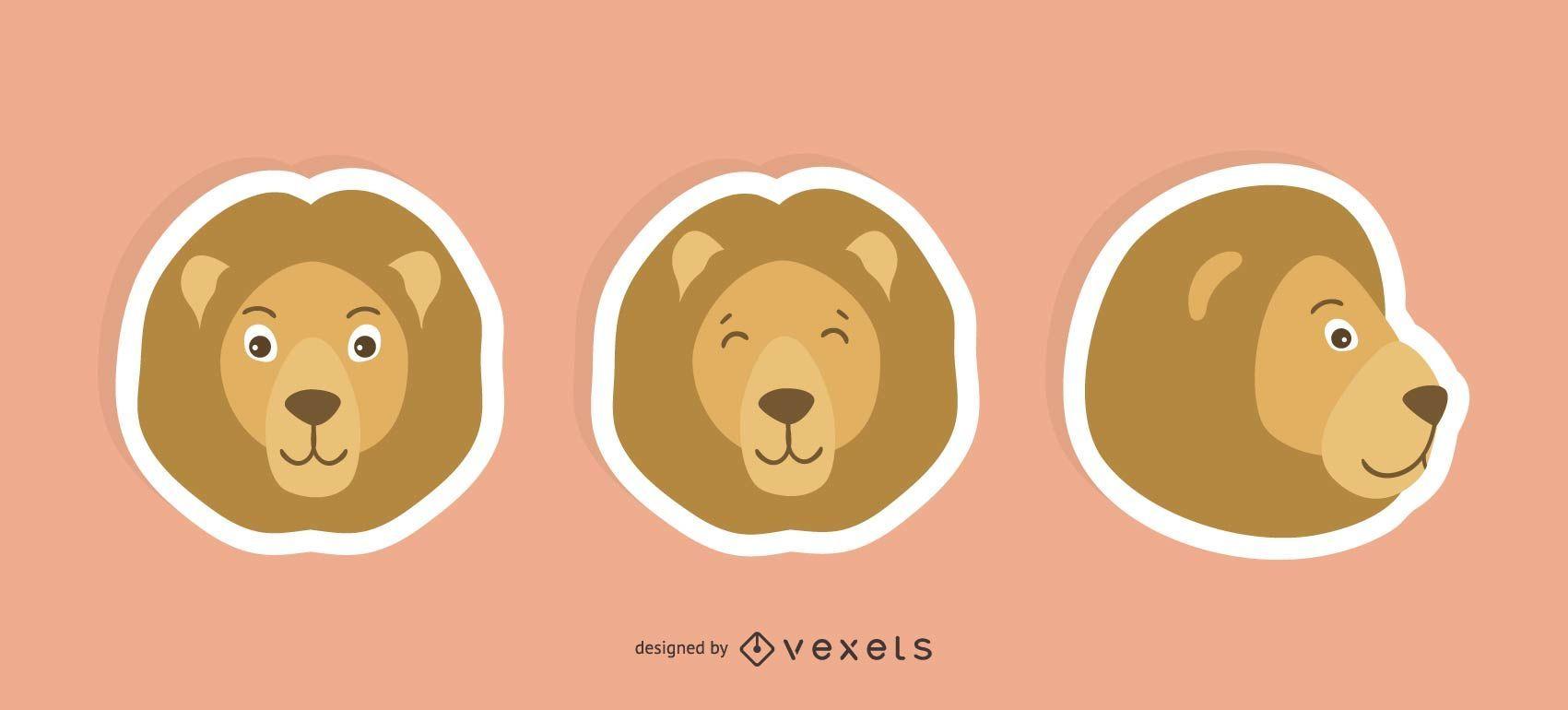 Conjunto de pegatinas de león