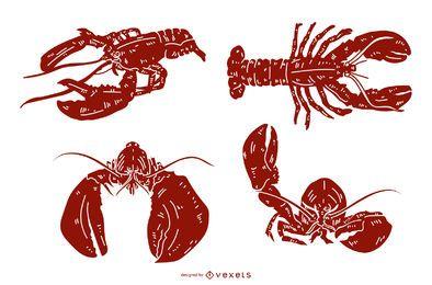 Conjunto de silhueta detalhada de lagosta