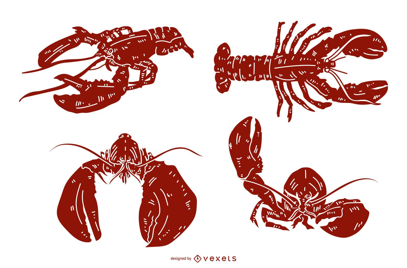 Lobster Detailed Silhouette Set