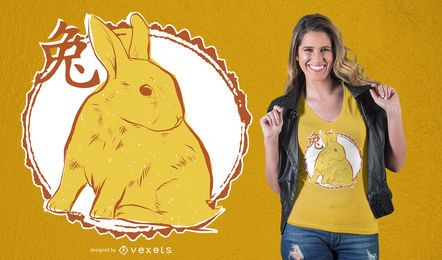 Design de camiseta de coelho chinês
