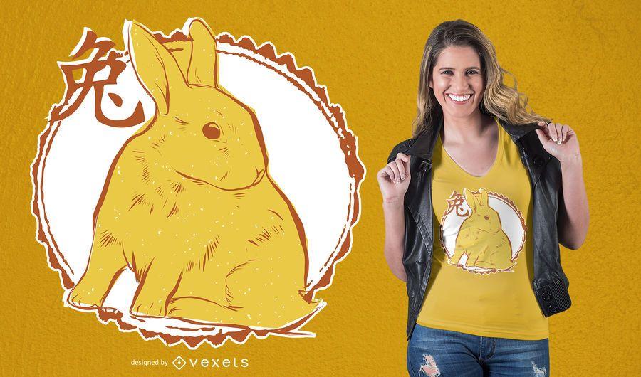 Diseño de camiseta de conejo chino