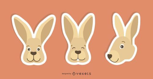 Kaninchen-Aufkleber-Set