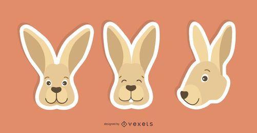 Set de pegatinas de conejo