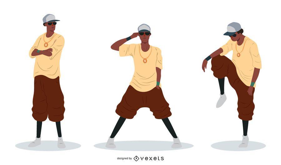 Conjunto de vetores de homem rapper