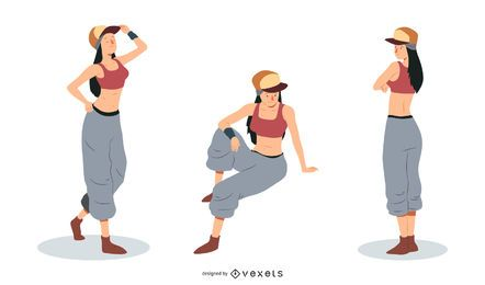 Rapper Woman Vector Set