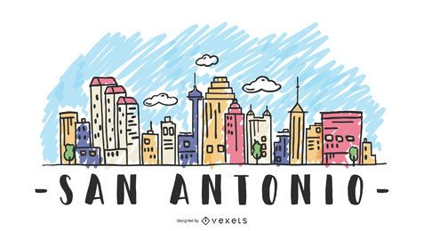 San Antonio USA Skyline Design