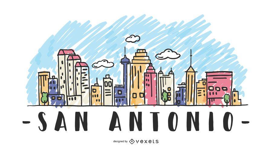 San Antonio USA Skyline Design