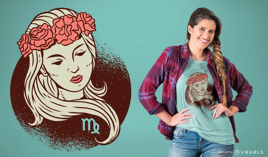 Projeto do t-shirt do zodíaco do Virgo