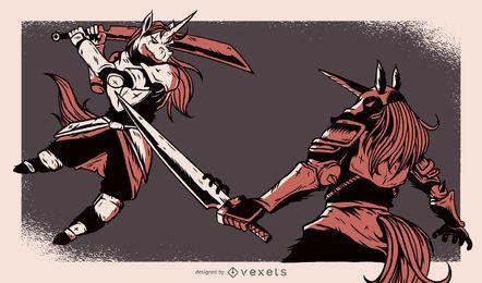 Ilustração de luta de unicórnios