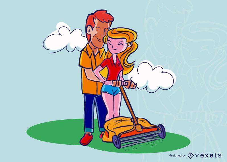 Couple Grass Loaning Illustration