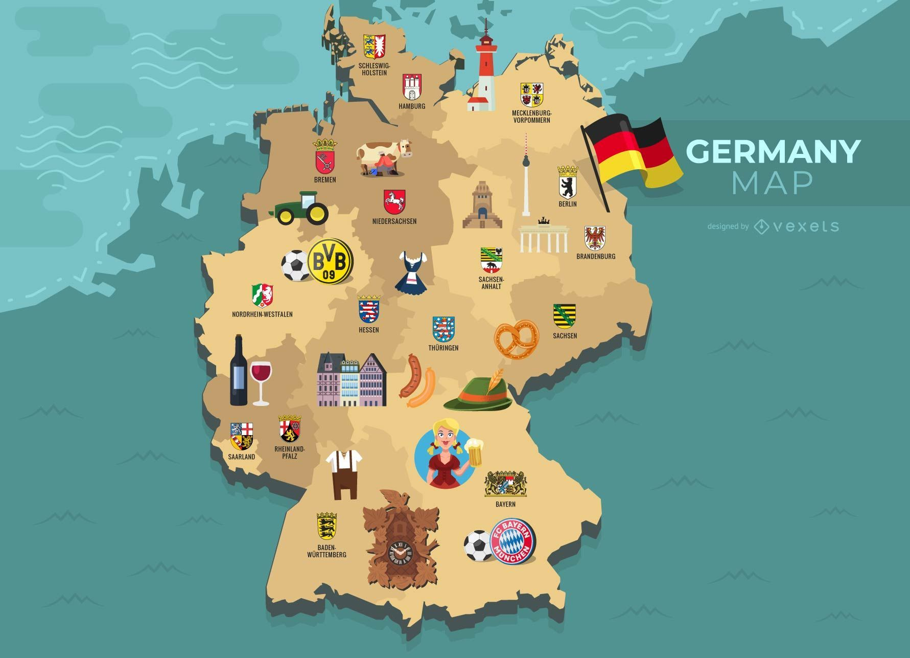 Cartoon Map Of Germany.Germany Map Illustration Vector Download