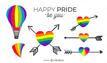 Conjunto de elementos do orgulho LGBT