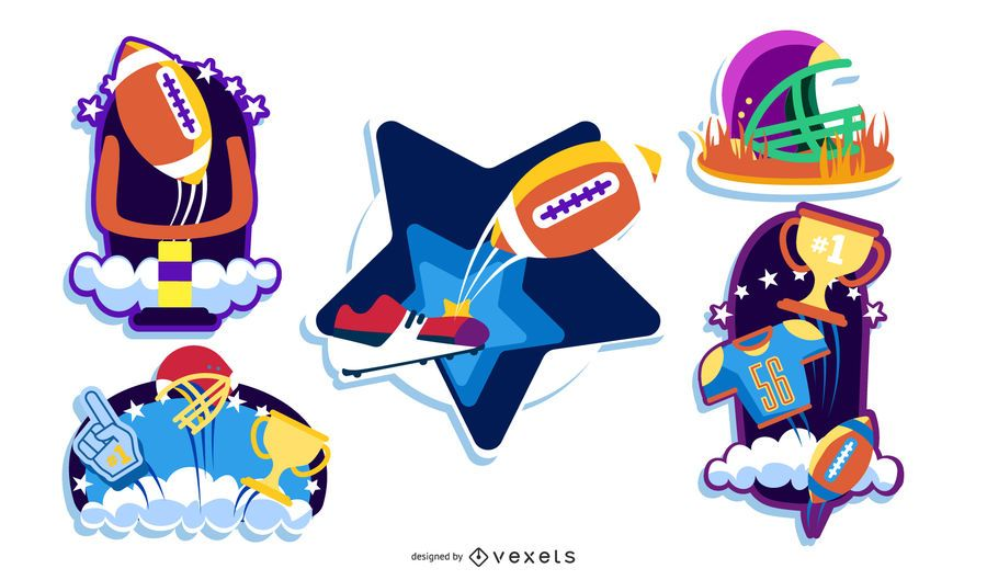 Football Themed Sticker Set
