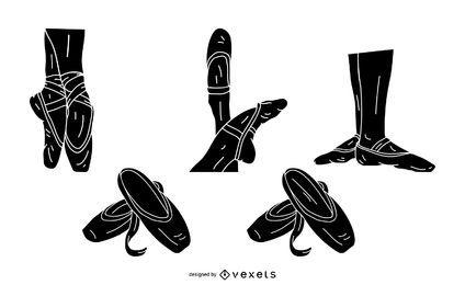 Conjunto de silueta de zapatos de bailarina