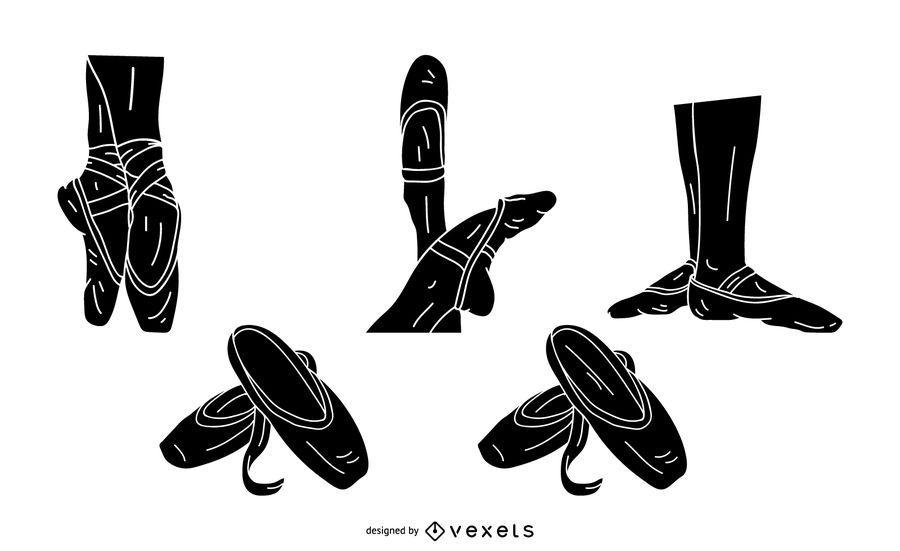 Conjunto de silhueta de sapatos de bailarina