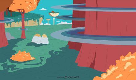 Fantasie-Landschaftshintergrundauslegung