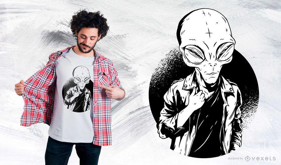 Black and White Alien T-Shirt Design