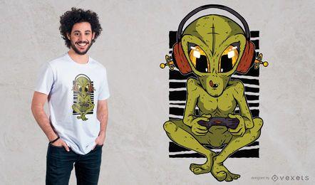 Diseño de camiseta Alien Gamer