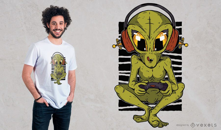Alien Gamer T-Shirt Design